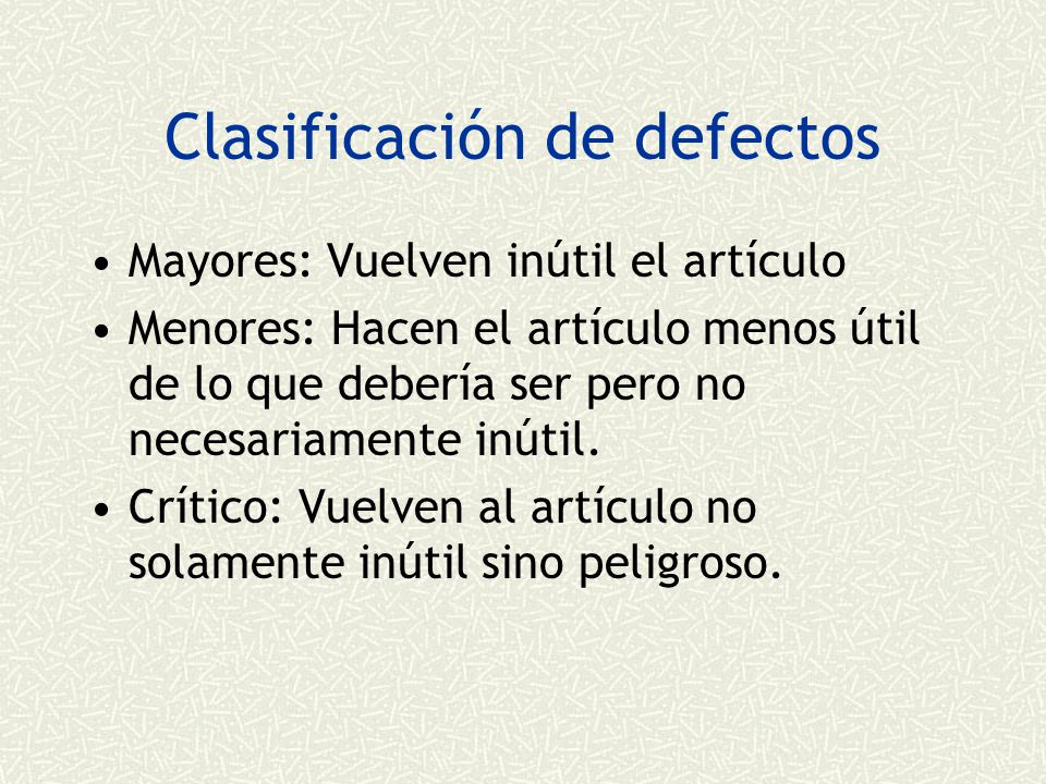 Clasificación de defectos