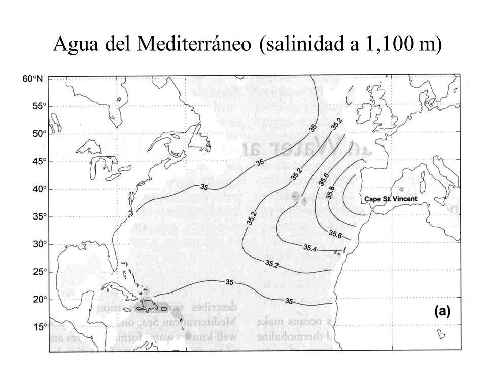 Agua del Mediterráneo (salinidad a 1,100 m)