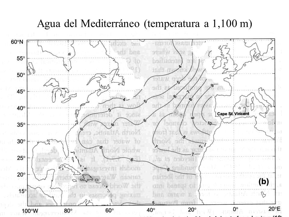 Agua del Mediterráneo (temperatura a 1,100 m)