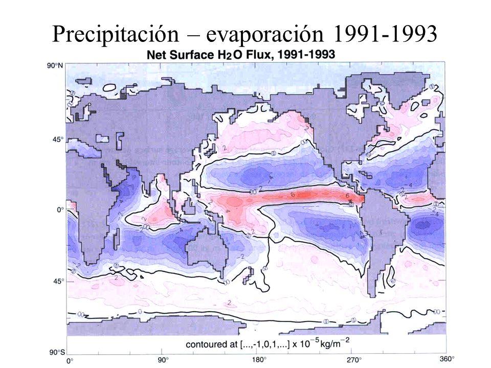 Precipitación – evaporación 1991-1993