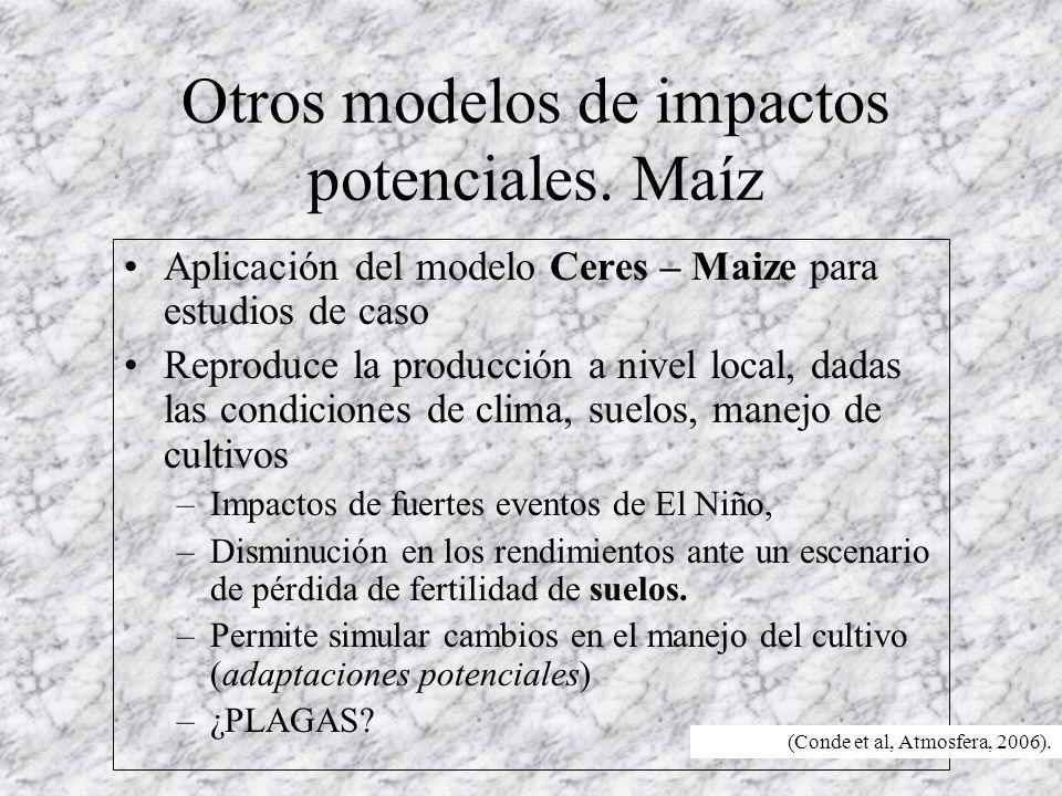 Otros modelos de impactos potenciales. Maíz