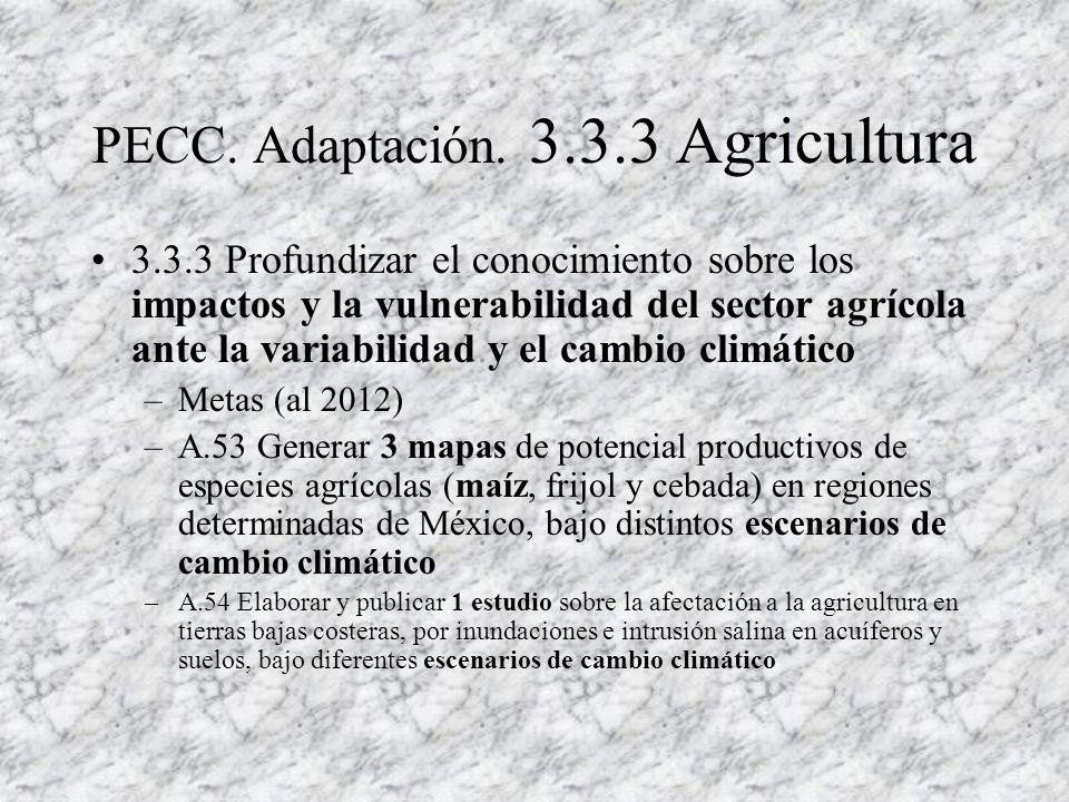 PECC. Adaptación. 3.3.3 Agricultura