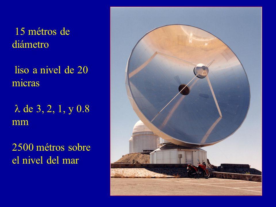 15 métros de diámetro liso a nivel de 20 micras.  de 3, 2, 1, y 0.8 mm.