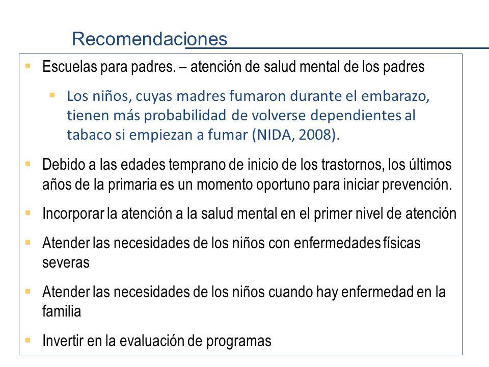 Recomendaciones Escuelas para padres. – atención de salud mental de los padres.