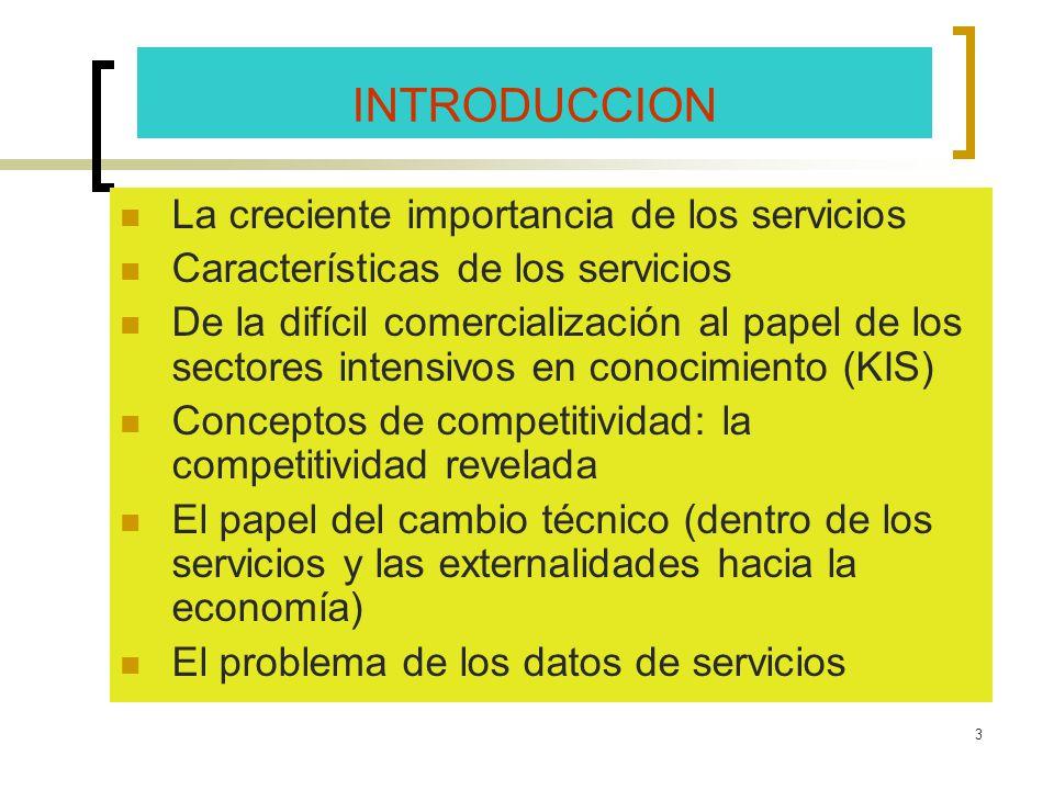 INTRODUCCION La creciente importancia de los servicios