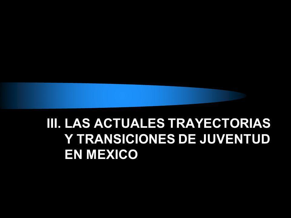 III. LAS ACTUALES TRAYECTORIAS Y TRANSICIONES DE JUVENTUD EN MEXICO