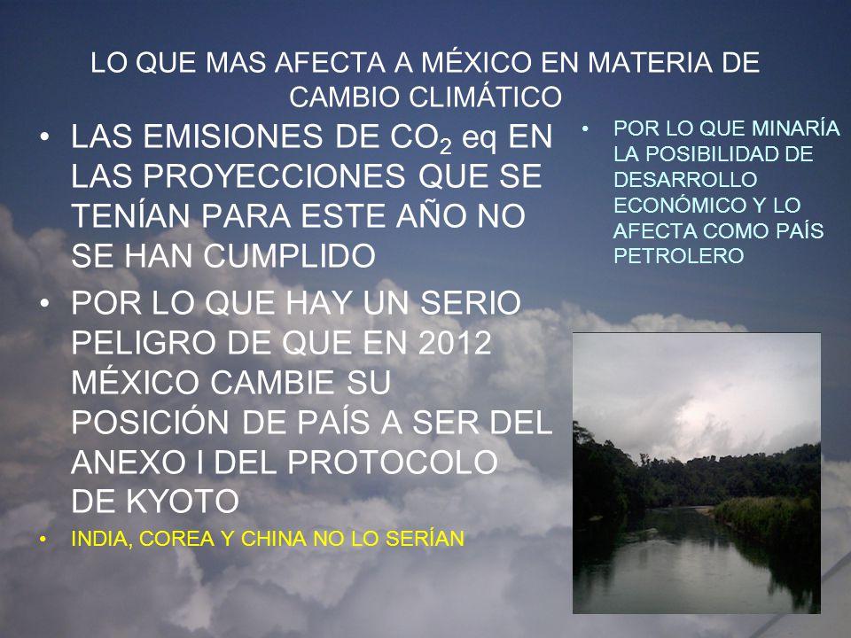 LO QUE MAS AFECTA A MÉXICO EN MATERIA DE CAMBIO CLIMÁTICO