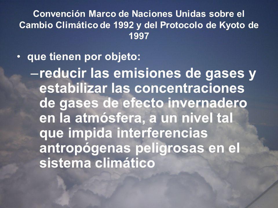 Convención Marco de Naciones Unidas sobre el Cambio Climático de 1992 y del Protocolo de Kyoto de 1997