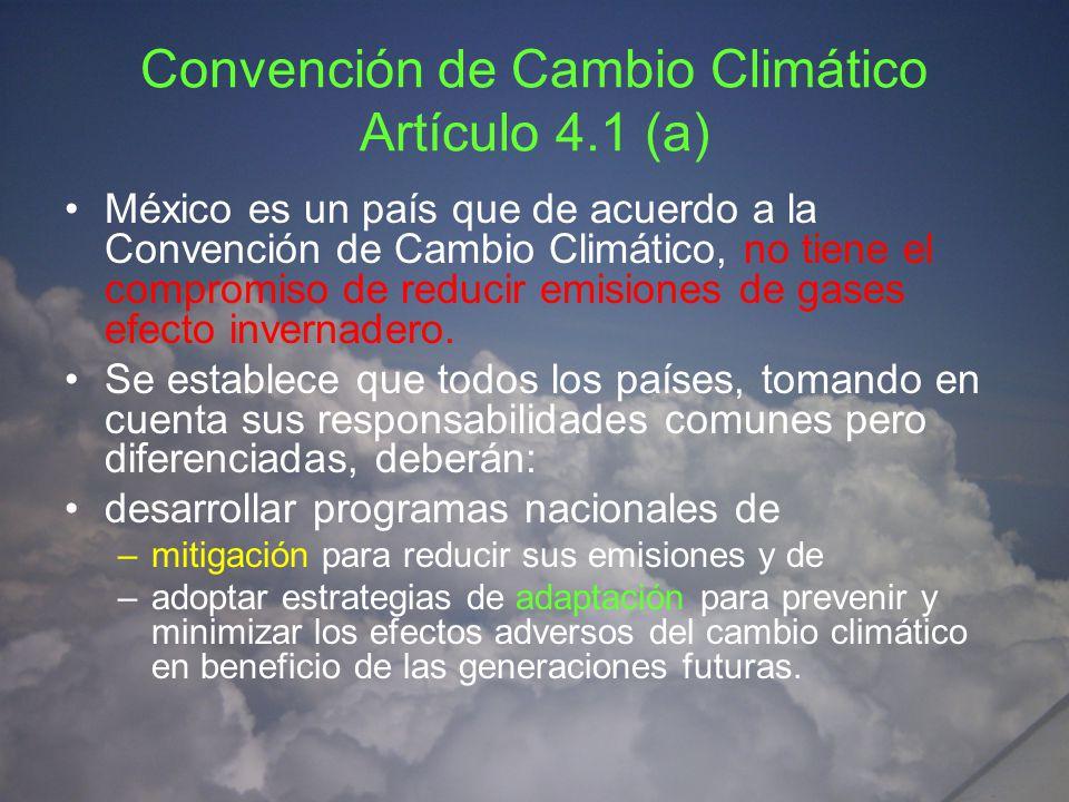 Convención de Cambio Climático Artículo 4.1 (a)