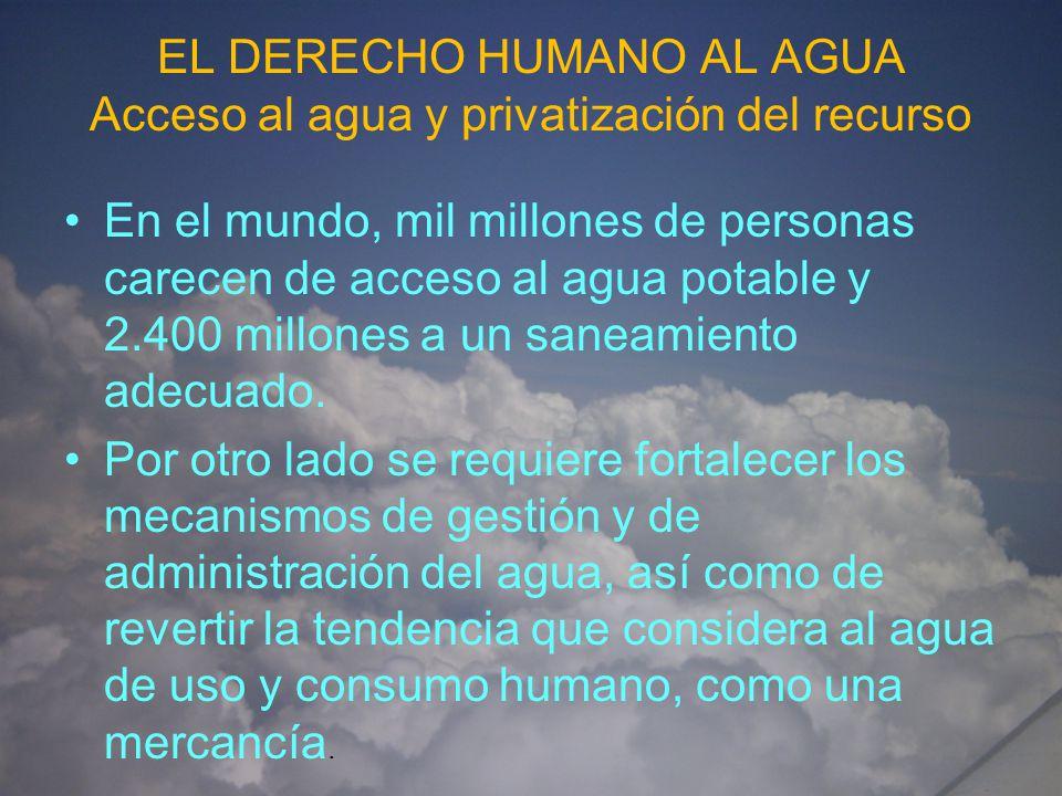 EL DERECHO HUMANO AL AGUA Acceso al agua y privatización del recurso