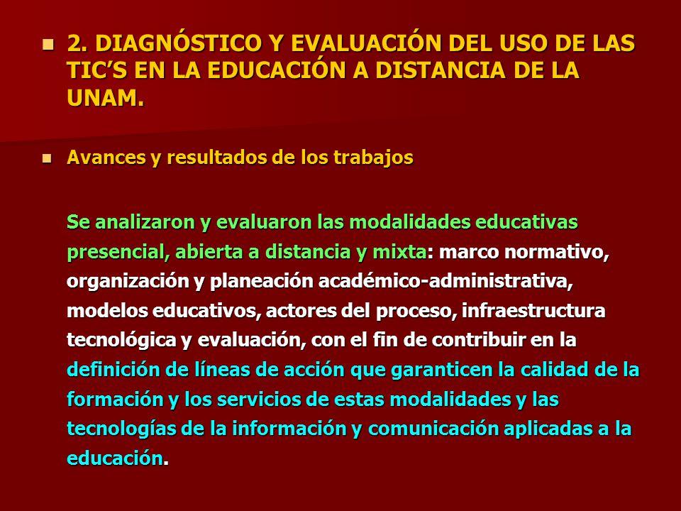 2. DIAGNÓSTICO Y EVALUACIÓN DEL USO DE LAS TIC'S EN LA EDUCACIÓN A DISTANCIA DE LA UNAM.