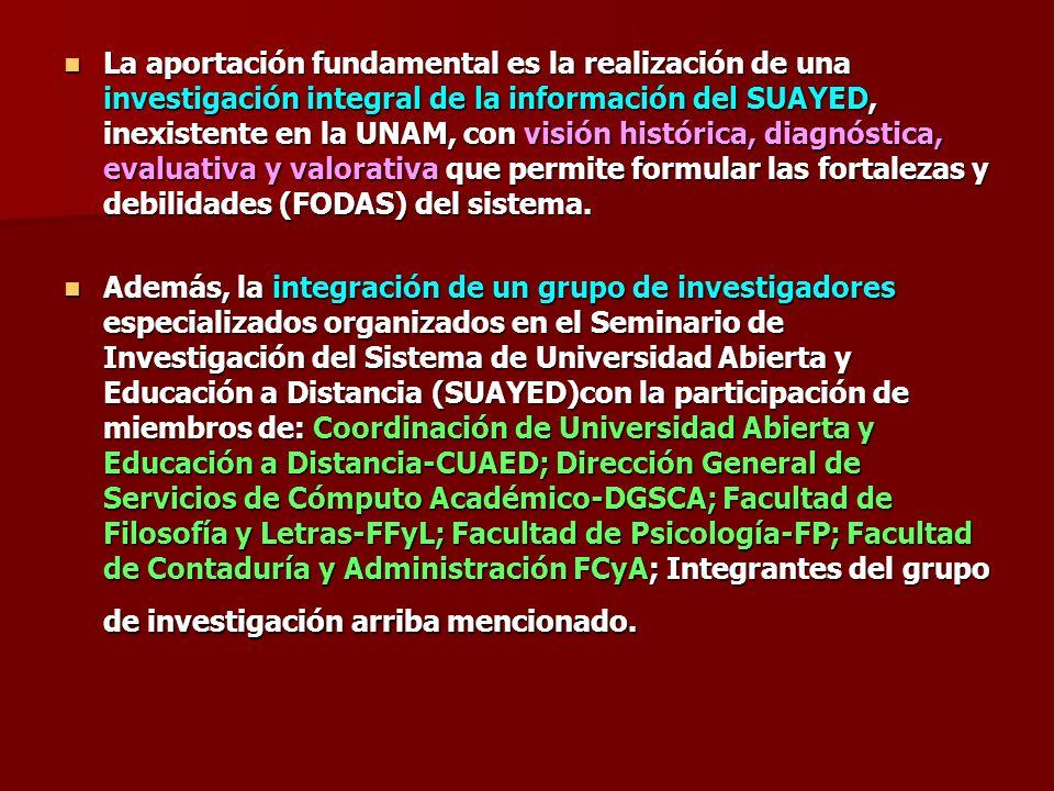 La aportación fundamental es la realización de una investigación integral de la información del SUAYED, inexistente en la UNAM, con visión histórica, diagnóstica, evaluativa y valorativa que permite formular las fortalezas y debilidades (FODAS) del sistema.