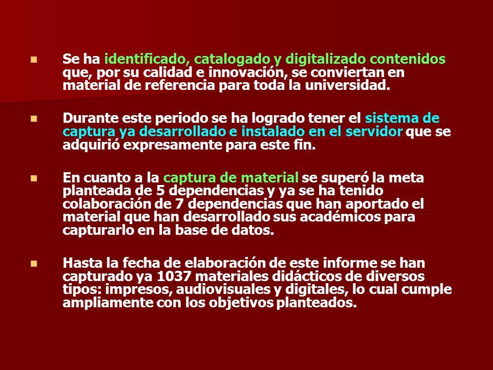 Se ha identificado, catalogado y digitalizado contenidos que, por su calidad e innovación, se conviertan en material de referencia para toda la universidad.