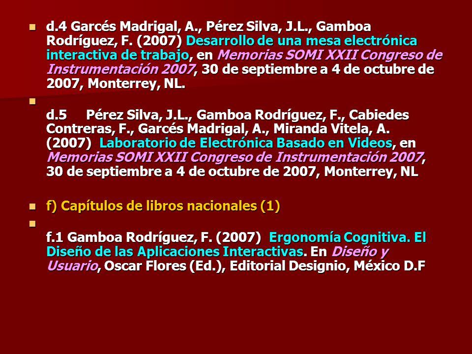 d. 4 Garcés Madrigal, A. , Pérez Silva, J. L. , Gamboa Rodríguez, F