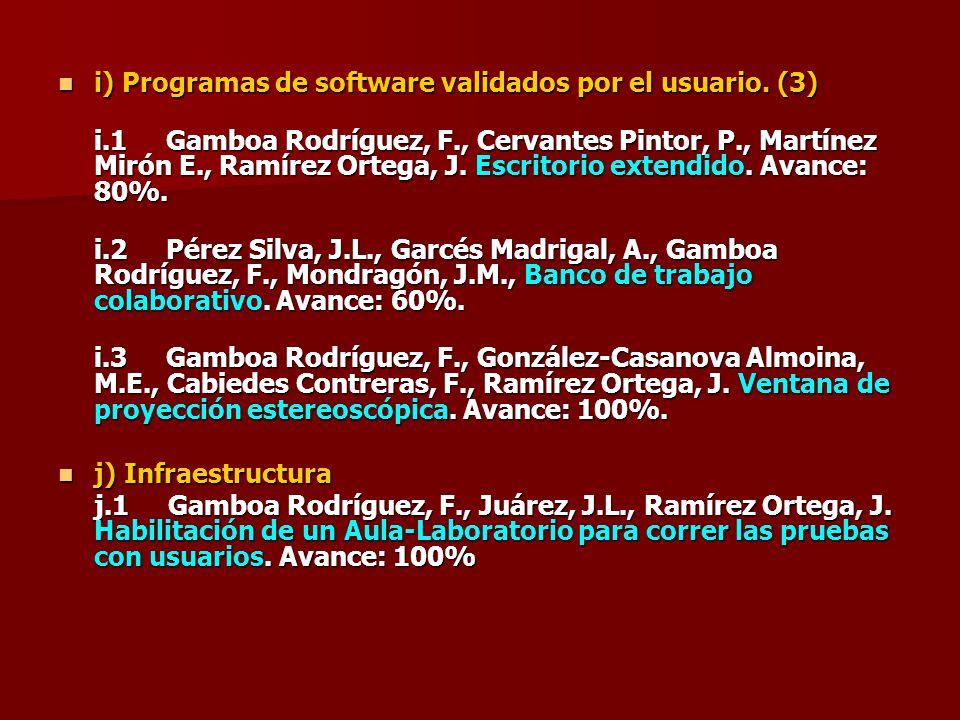 i) Programas de software validados por el usuario. (3)