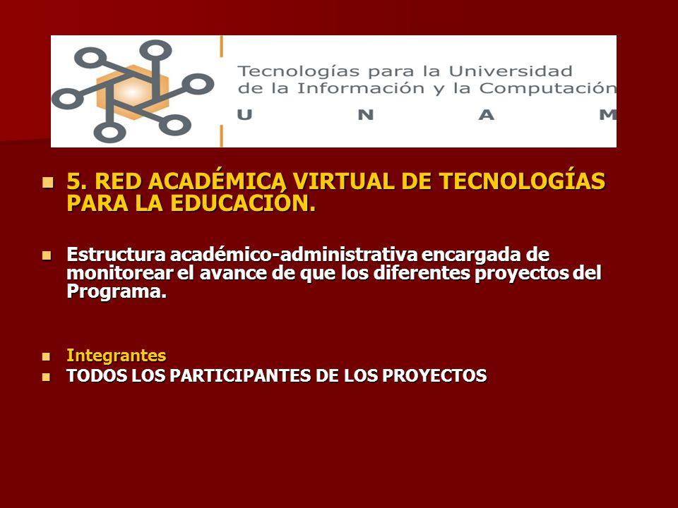 5. RED ACADÉMICA VIRTUAL DE TECNOLOGÍAS PARA LA EDUCACIÓN.