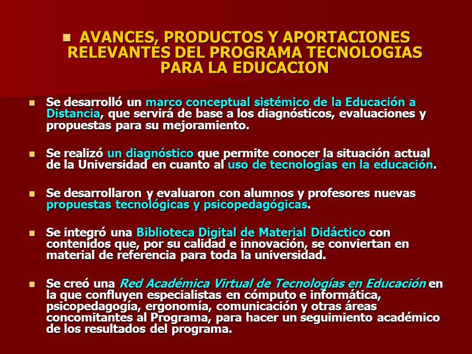 AVANCES, PRODUCTOS Y APORTACIONES RELEVANTES DEL PROGRAMA TECNOLOGIAS PARA LA EDUCACION