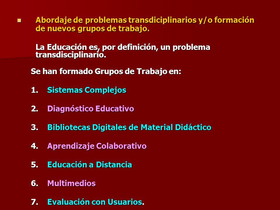Abordaje de problemas transdiciplinarios y/o formación de nuevos grupos de trabajo.