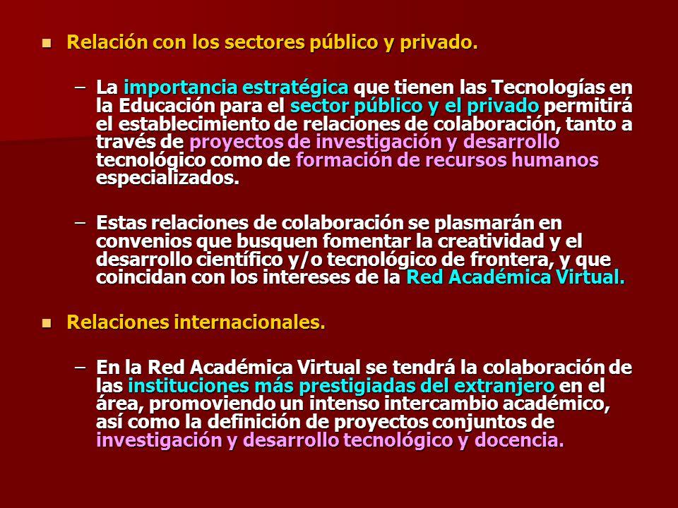 Relación con los sectores público y privado.