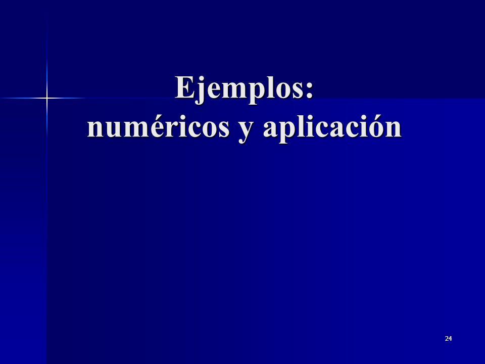 Ejemplos: numéricos y aplicación