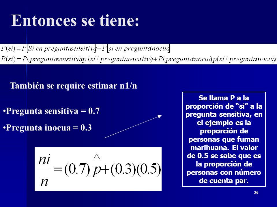 Entonces se tiene: También se require estimar n1/n