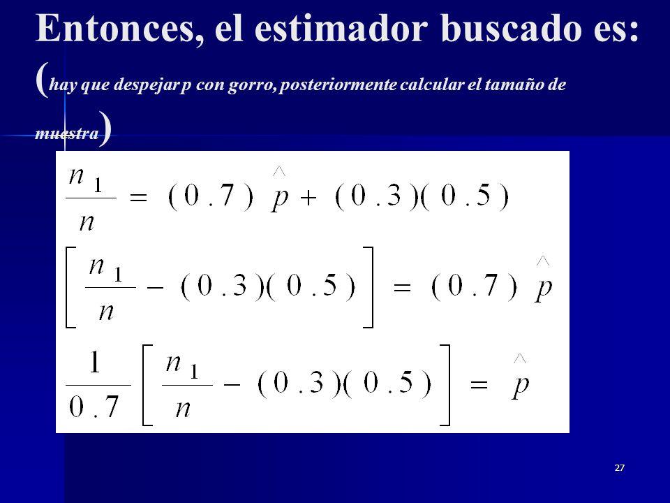 Entonces, el estimador buscado es: (hay que despejar p con gorro, posteriormente calcular el tamaño de muestra)