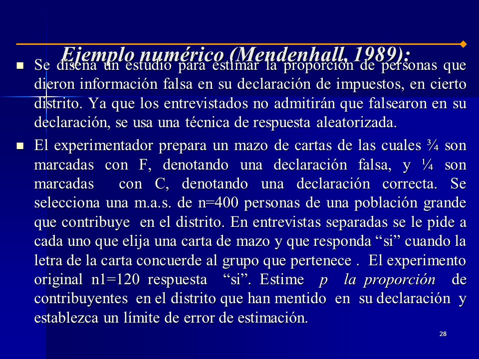 Ejemplo numérico (Mendenhall, 1989):