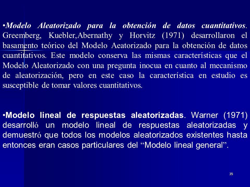 Modelo Aleatorizado para la obtención de datos cuantitativos