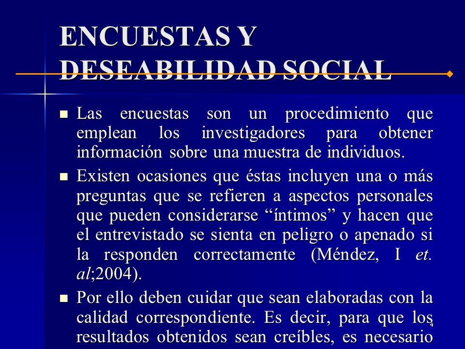 ENCUESTAS Y DESEABILIDAD SOCIAL