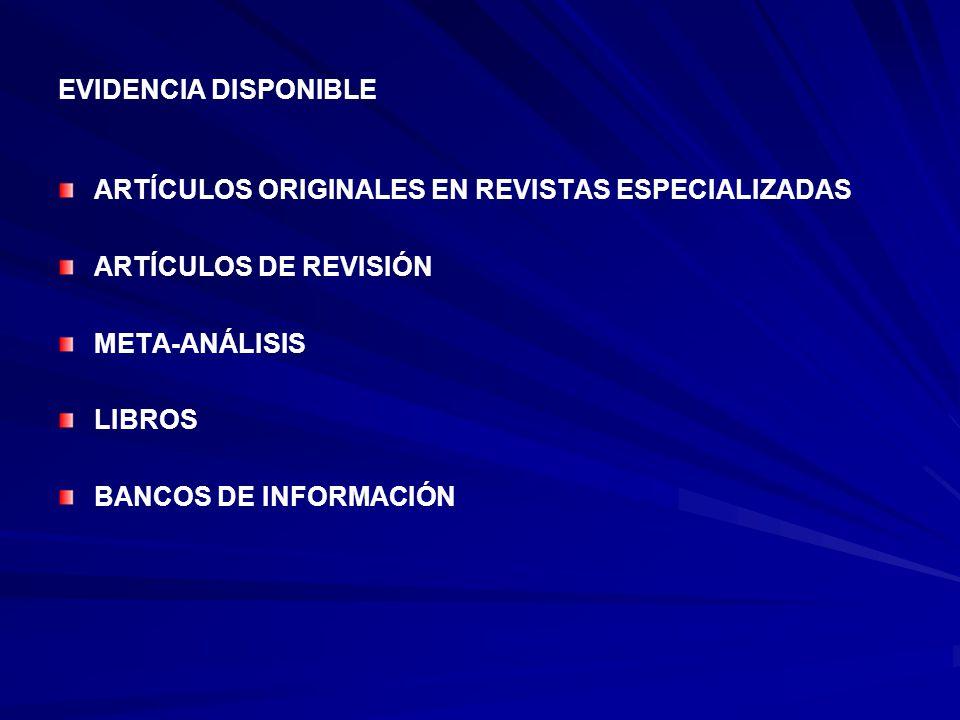 EVIDENCIA DISPONIBLE ARTÍCULOS ORIGINALES EN REVISTAS ESPECIALIZADAS. ARTÍCULOS DE REVISIÓN. META-ANÁLISIS.