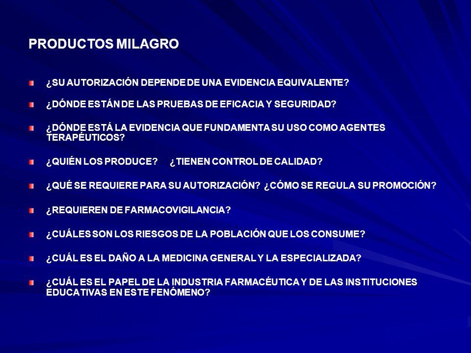 PRODUCTOS MILAGRO ¿SU AUTORIZACIÓN DEPENDE DE UNA EVIDENCIA EQUIVALENTE ¿DÓNDE ESTÁN DE LAS PRUEBAS DE EFICACIA Y SEGURIDAD