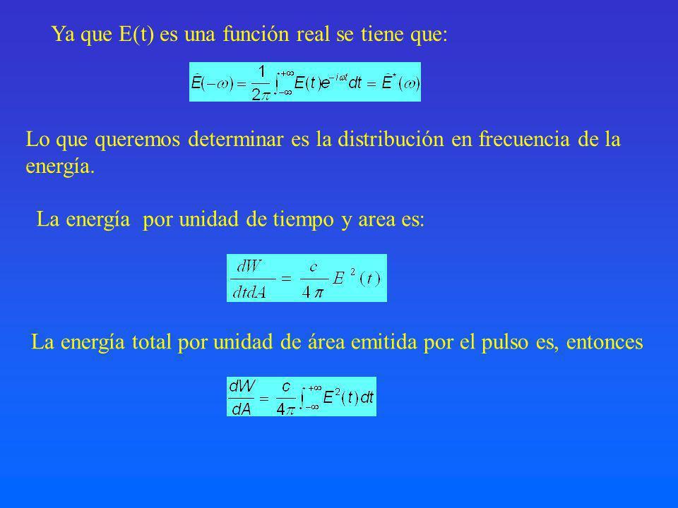 Ya que E(t) es una función real se tiene que:
