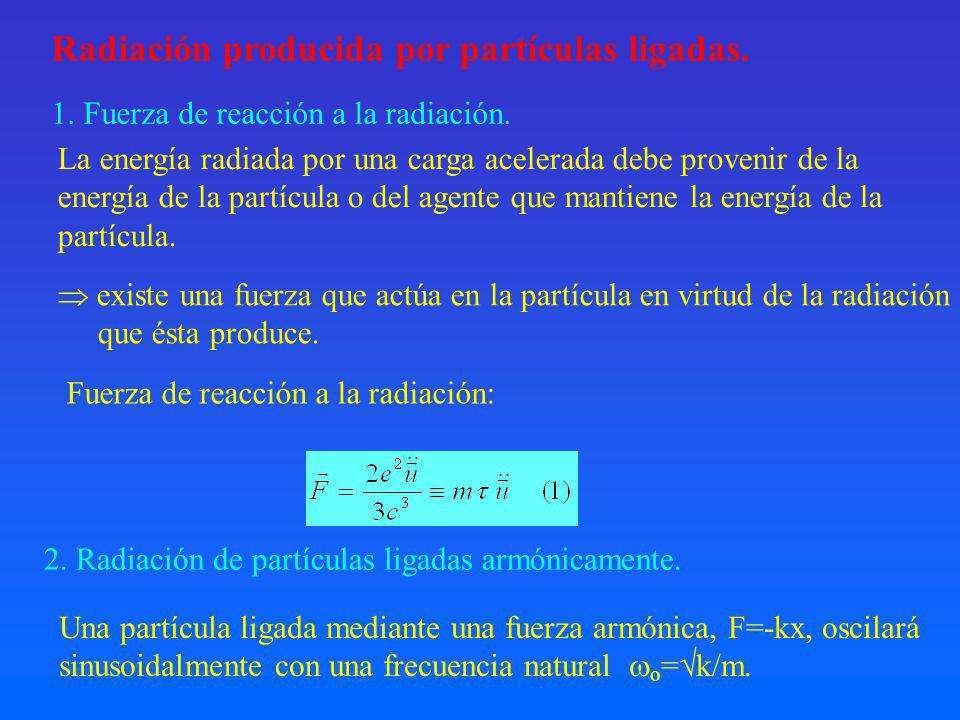 Radiación producida por partículas ligadas.
