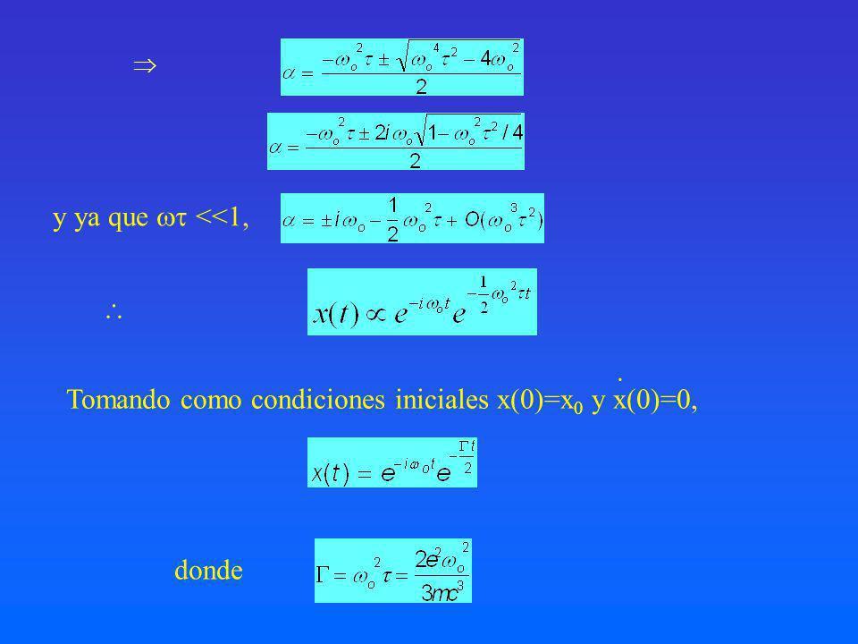 Tomando como condiciones iniciales x(0)=x0 y x(0)=0,
