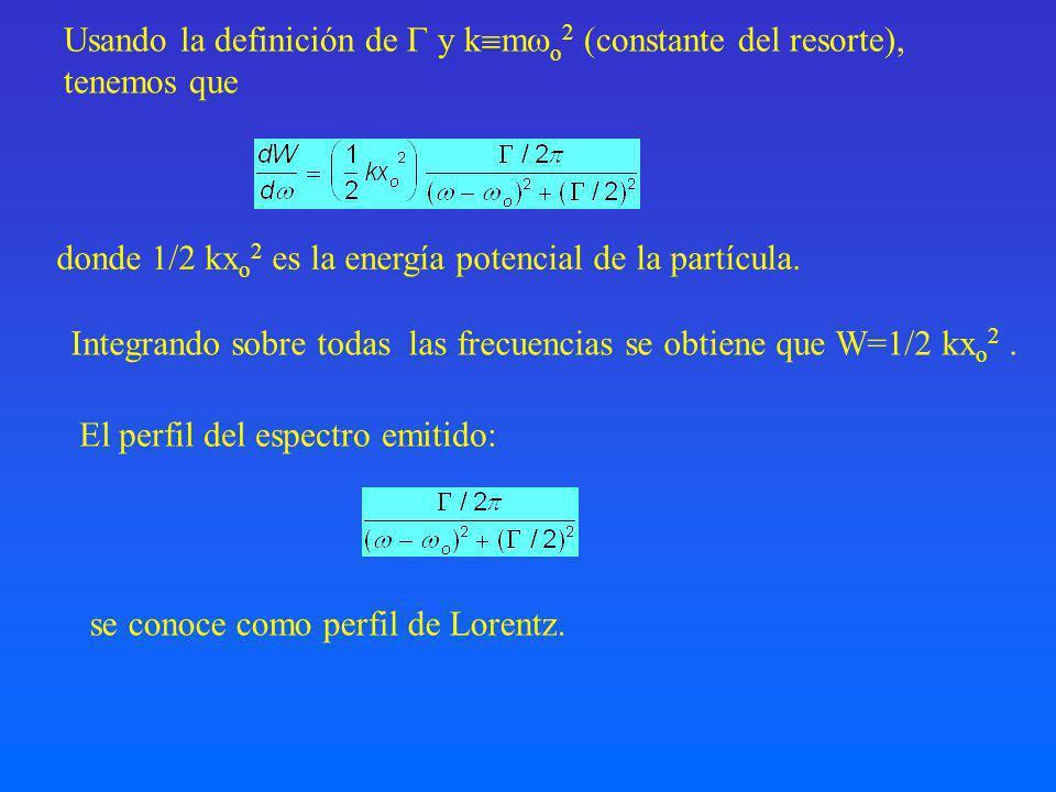 Usando la definición de  y kmo2 (constante del resorte),