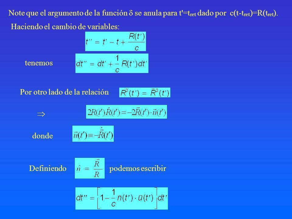 Note que el argumento de la función  se anula para t =tret dado por c(t-tret)=R(tret).