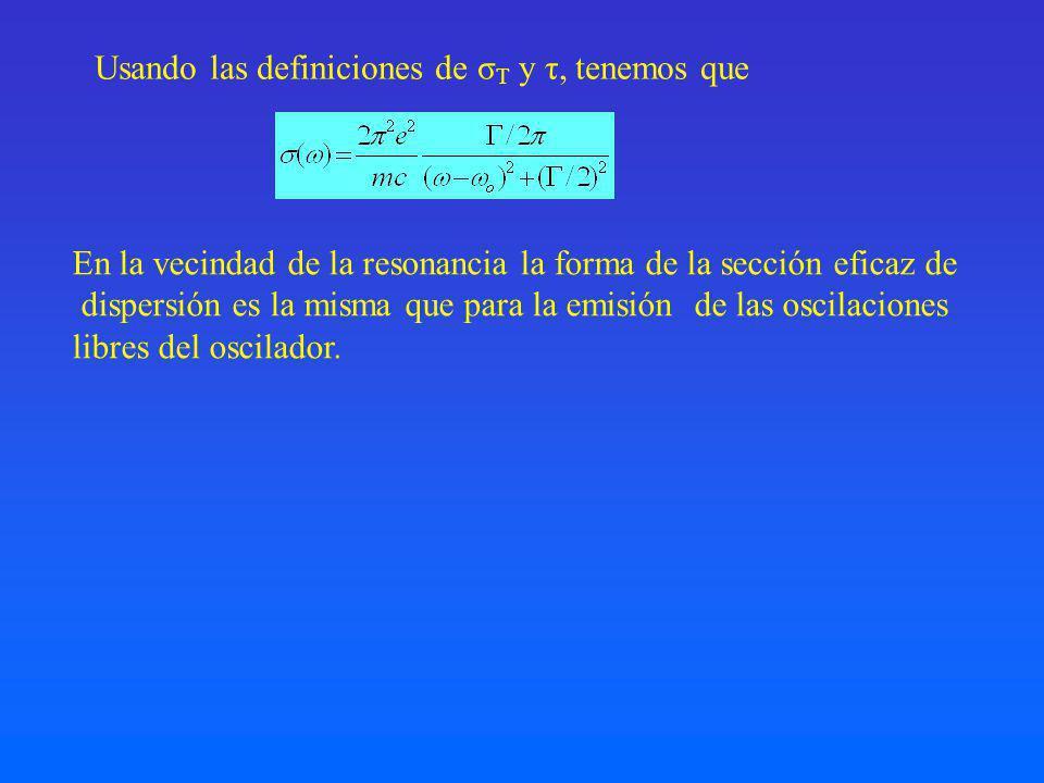 Usando las definiciones de σT y τ, tenemos que