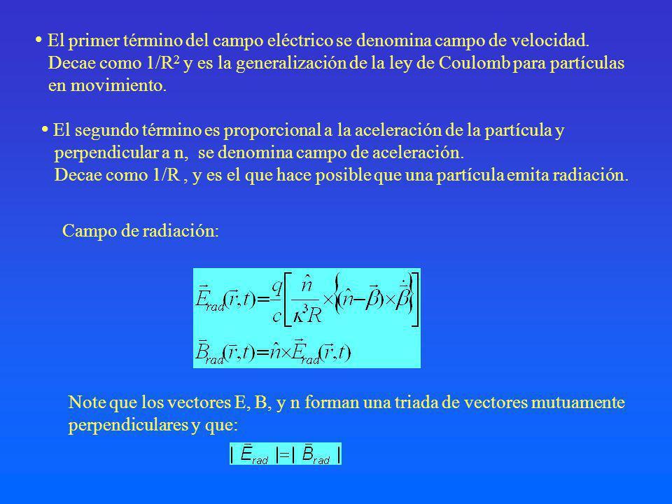  El primer término del campo eléctrico se denomina campo de velocidad.