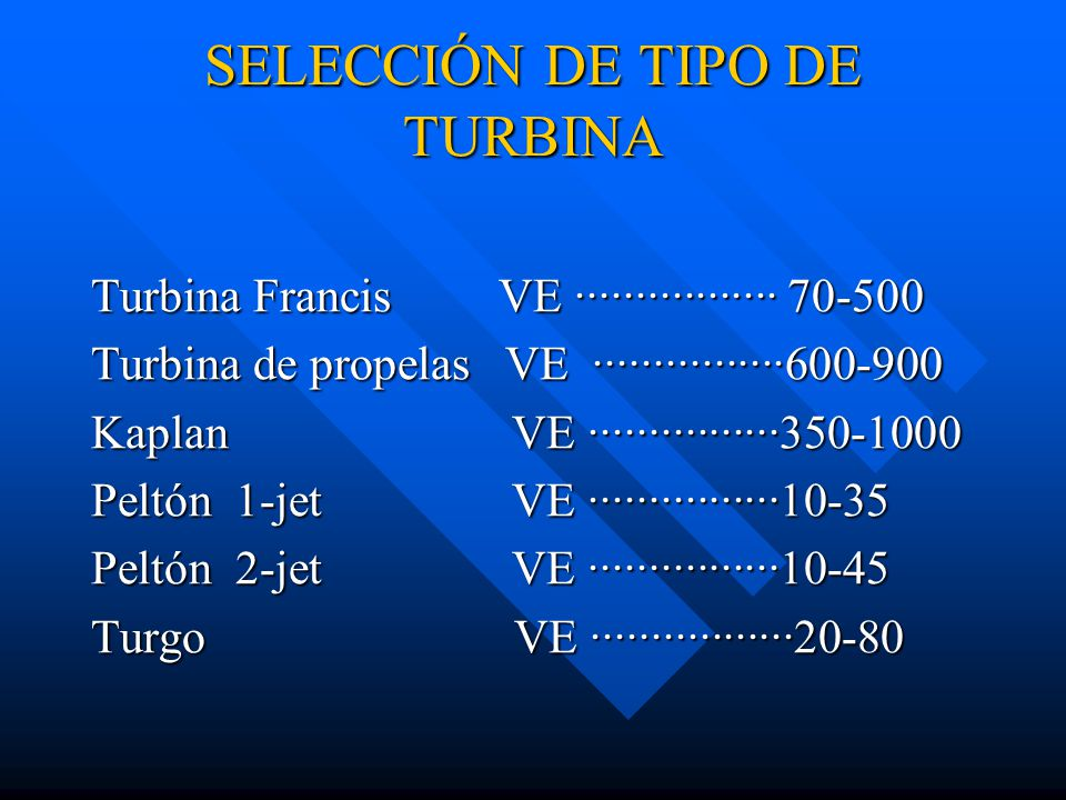 SELECCIÓN DE TIPO DE TURBINA