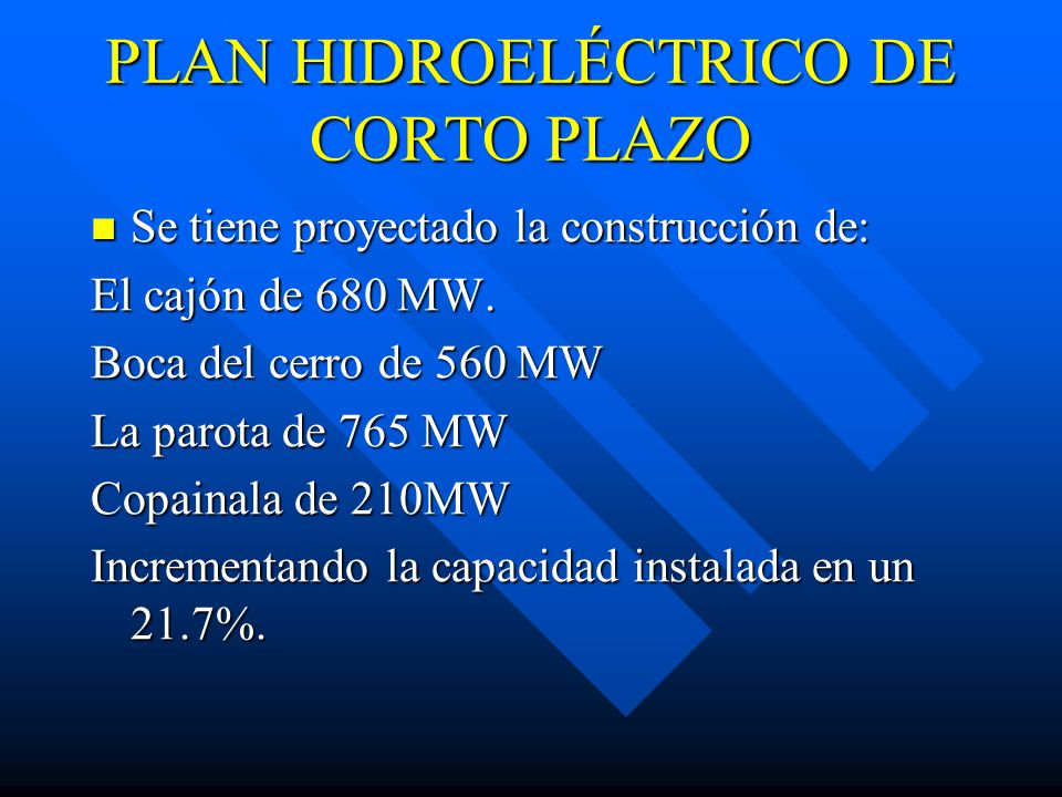 PLAN HIDROELÉCTRICO DE CORTO PLAZO