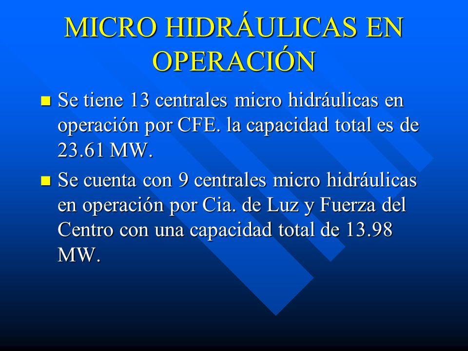 MICRO HIDRÁULICAS EN OPERACIÓN