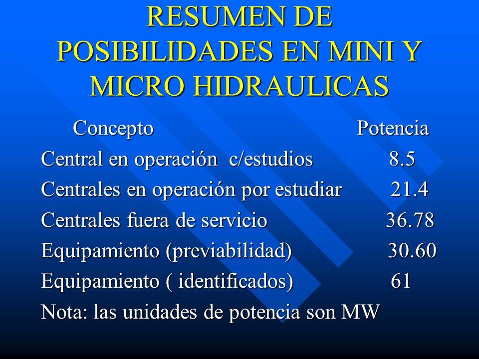 RESUMEN DE POSIBILIDADES EN MINI Y MICRO HIDRAULICAS