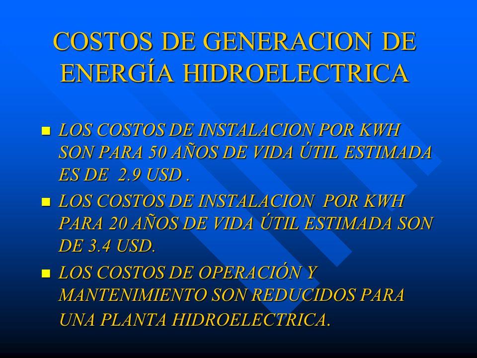 COSTOS DE GENERACION DE ENERGÍA HIDROELECTRICA