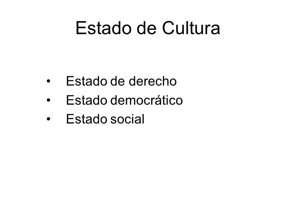 Estado de Cultura Estado de derecho Estado democrático Estado social