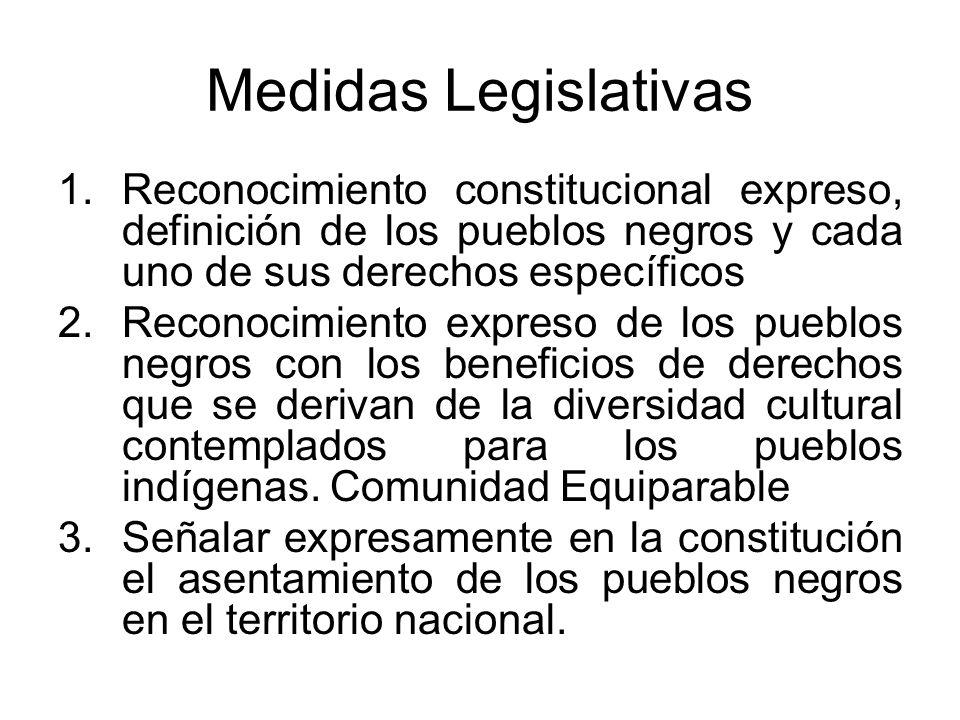 Medidas Legislativas Reconocimiento constitucional expreso, definición de los pueblos negros y cada uno de sus derechos específicos.