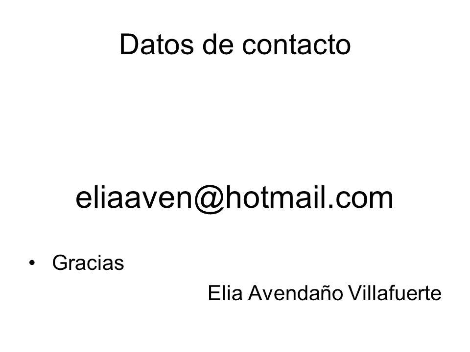 eliaaven@hotmail.com Datos de contacto Gracias