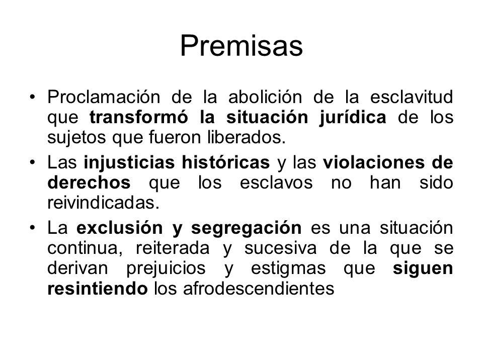 Premisas Proclamación de la abolición de la esclavitud que transformó la situación jurídica de los sujetos que fueron liberados.