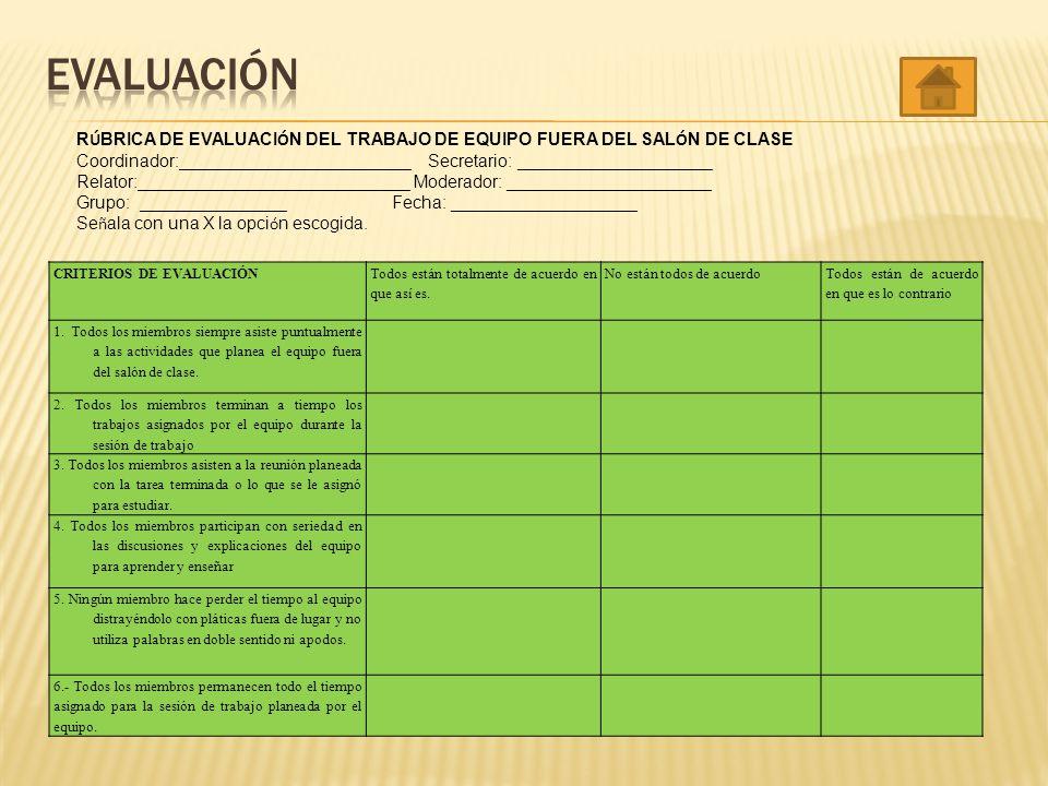 EVALUACIÓN RÚBRICA DE EVALUACIÓN DEL TRABAJO DE EQUIPO FUERA DEL SALÓN DE CLASE.