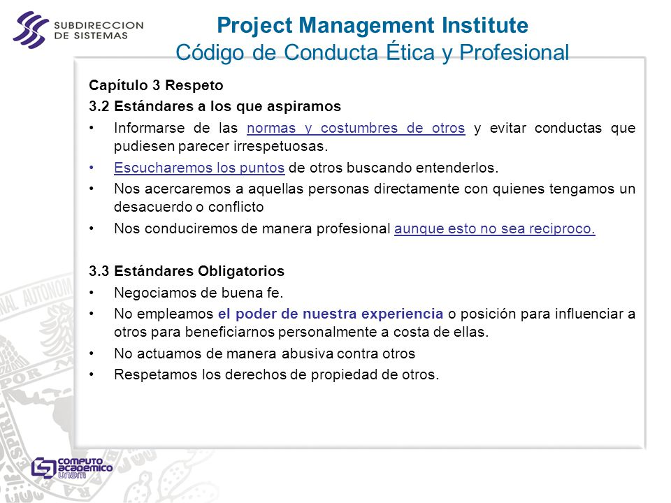 Project Management Institute Código de Conducta Ética y Profesional