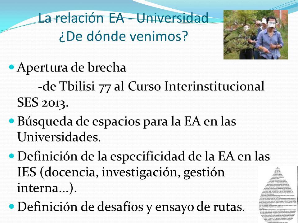 La relación EA - Universidad ¿De dónde venimos